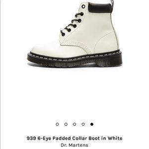 NWT Dr. Martens 6-eye padded collar boot in white